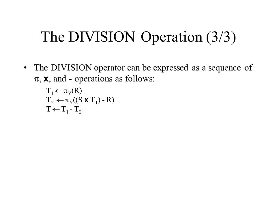 The DIVISION Operation (3/3)