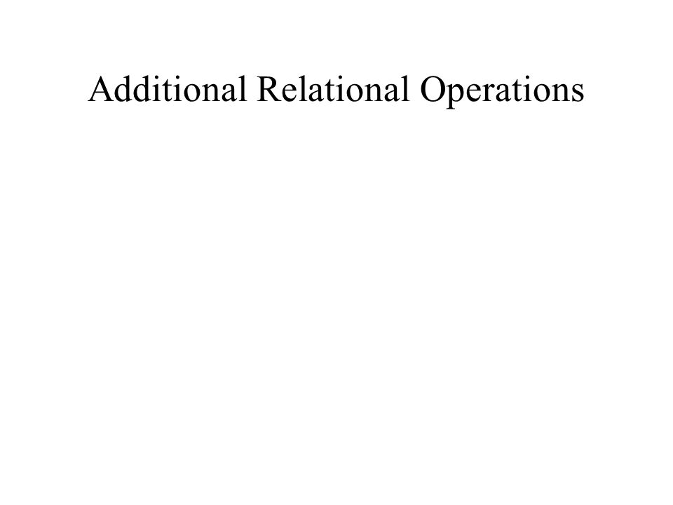 Additional Relational Operations