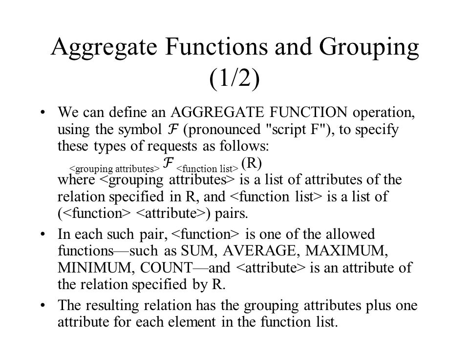 Aggregate Functions and Grouping (1/2)