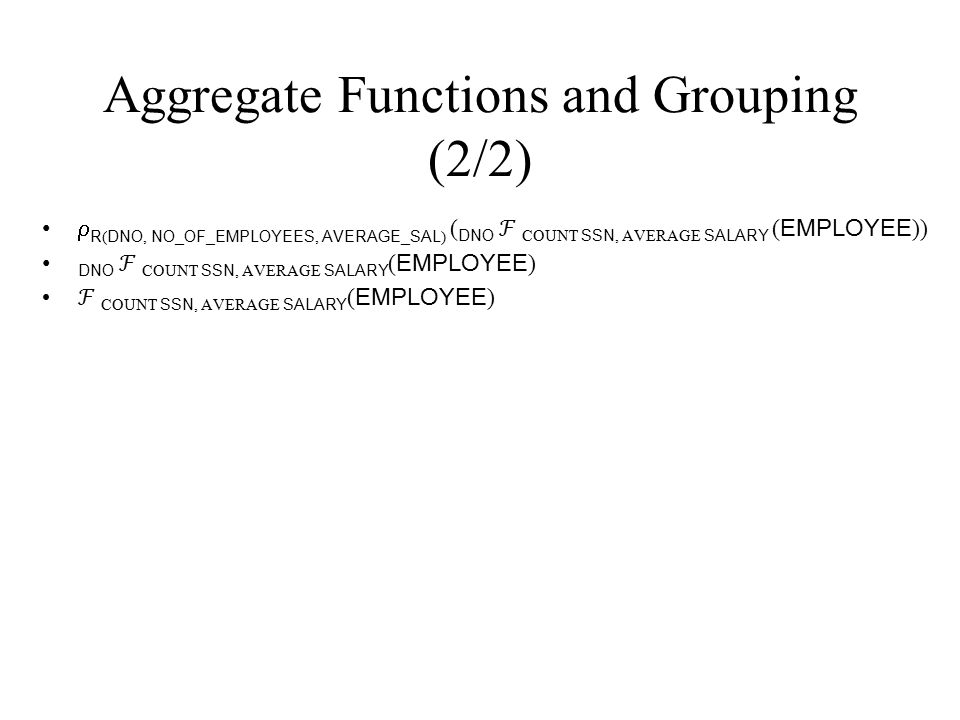 Aggregate Functions and Grouping (2/2)