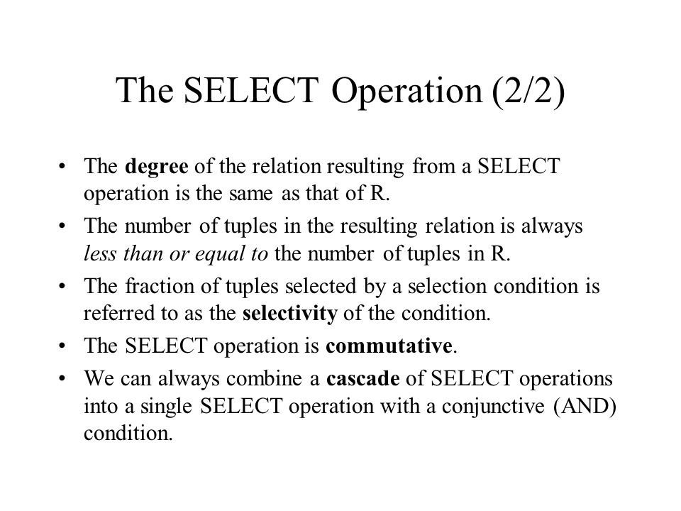 The SELECT Operation (2/2)