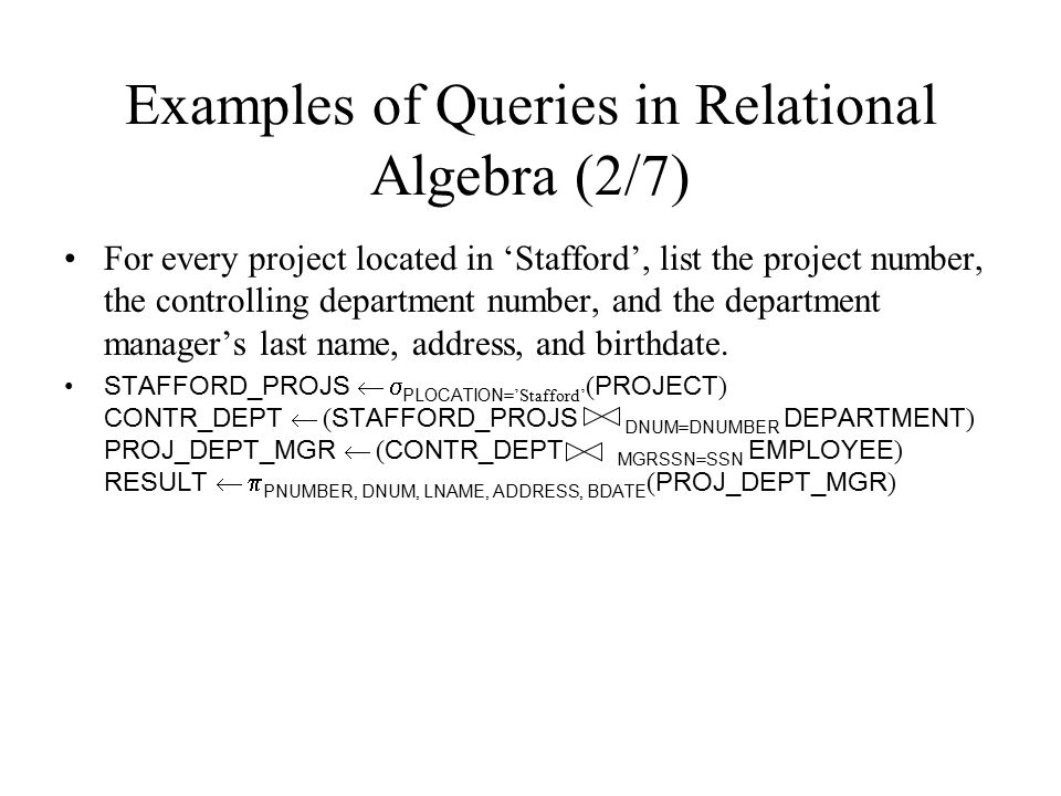 Examples of Queries in Relational Algebra (2/7)