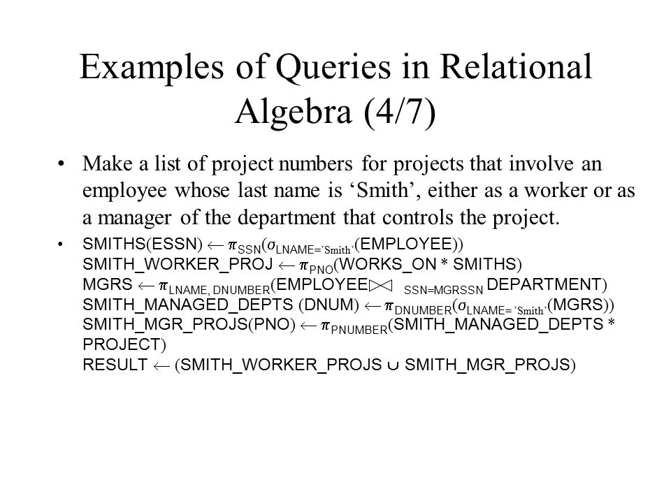 Examples of Queries in Relational Algebra (4/7)