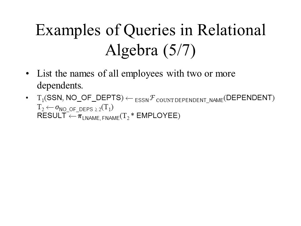 Examples of Queries in Relational Algebra (5/7)