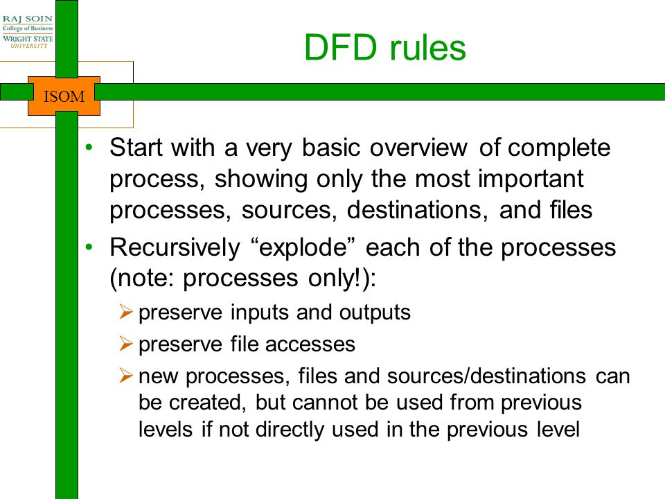DFD rules Start with a very basic overview of complete process, showing only the most important processes, sources, destinations, and files.