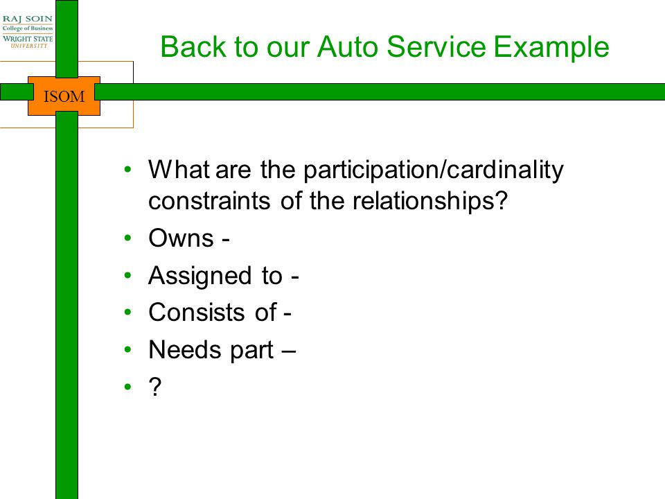 Back to our Auto Service Example