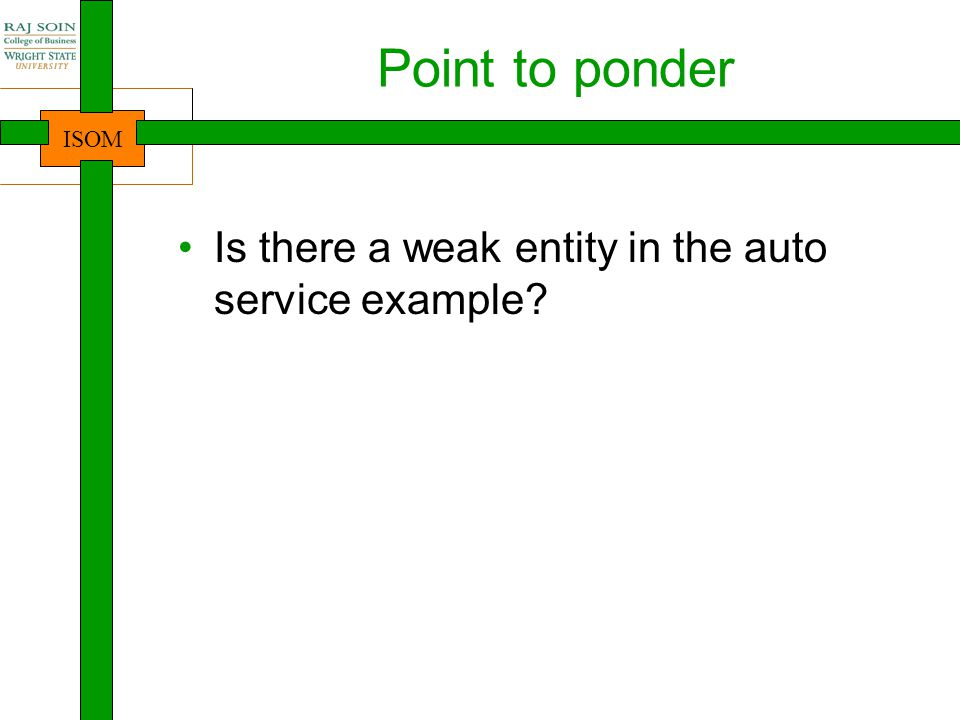 Point to ponder Is there a weak entity in the auto service example