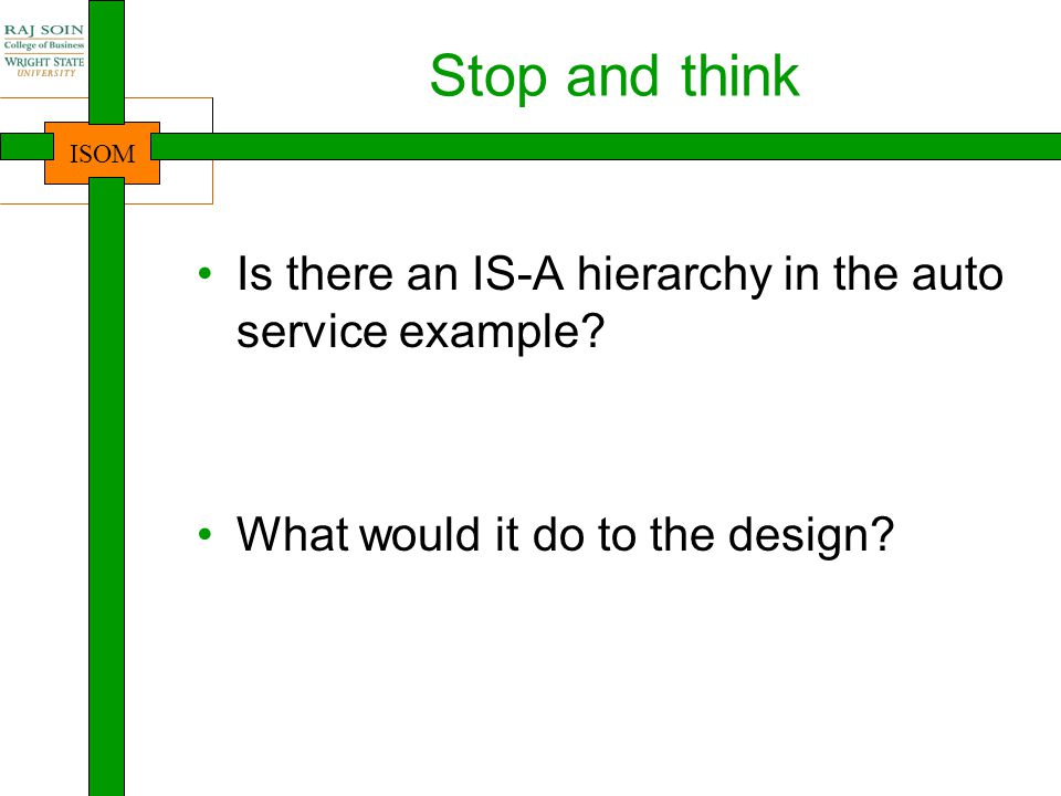 Stop and think Is there an IS-A hierarchy in the auto service example