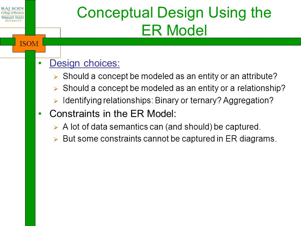 Conceptual Design Using the ER Model