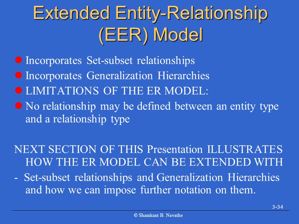 Extended Entity-Relationship (EER) Model