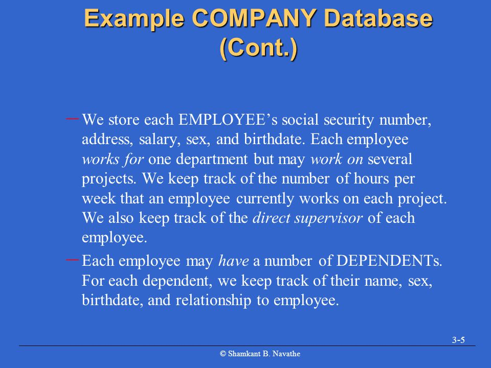 Example COMPANY Database (Cont.)