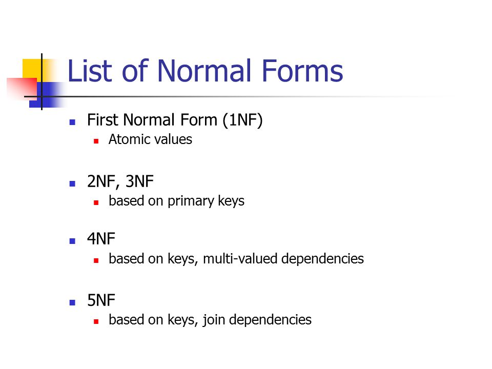 List of Normal Forms First Normal Form (1NF) 2NF, 3NF 4NF 5NF