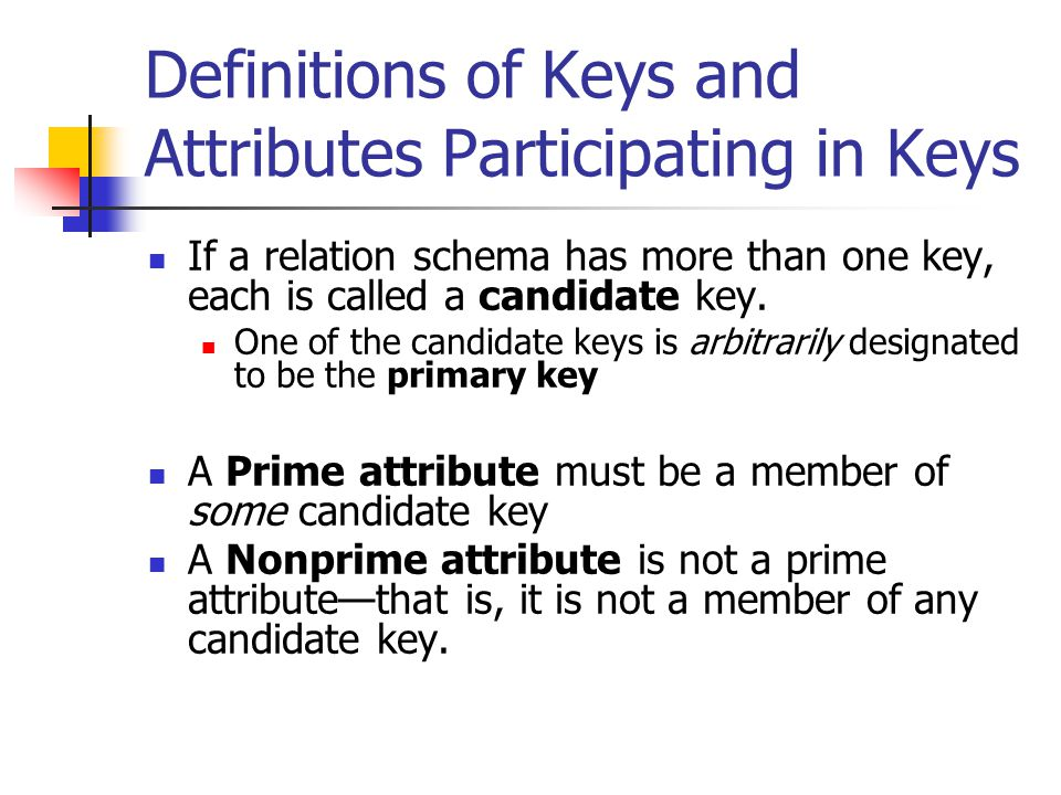 Definitions of Keys and Attributes Participating in Keys