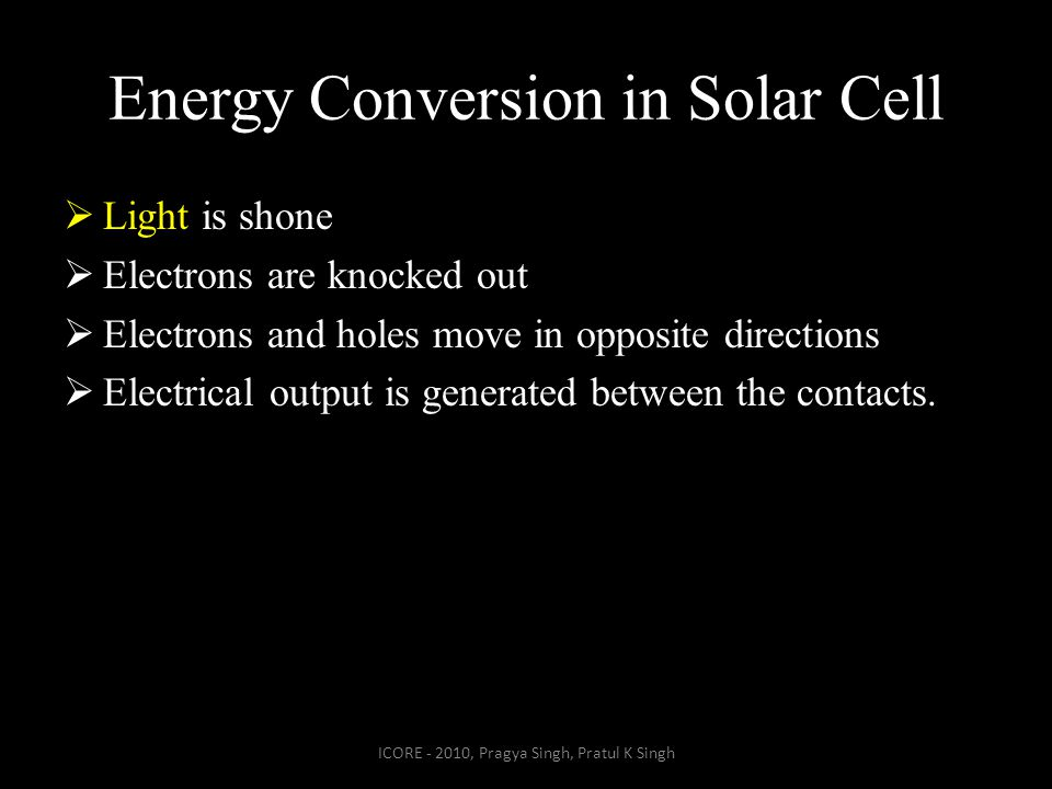 Energy Conversion in Solar Cell