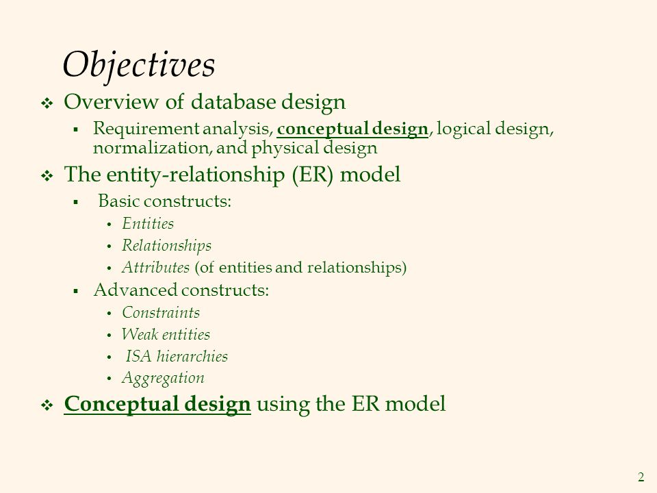 Objectives Overview of database design