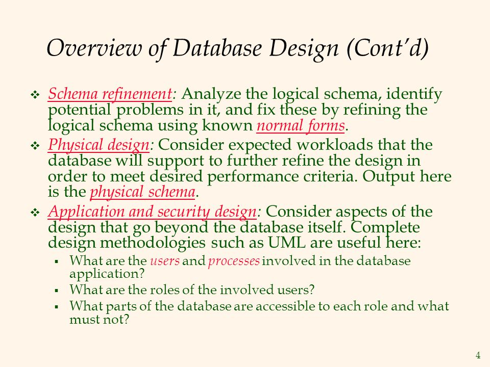 Overview of Database Design (Cont'd)