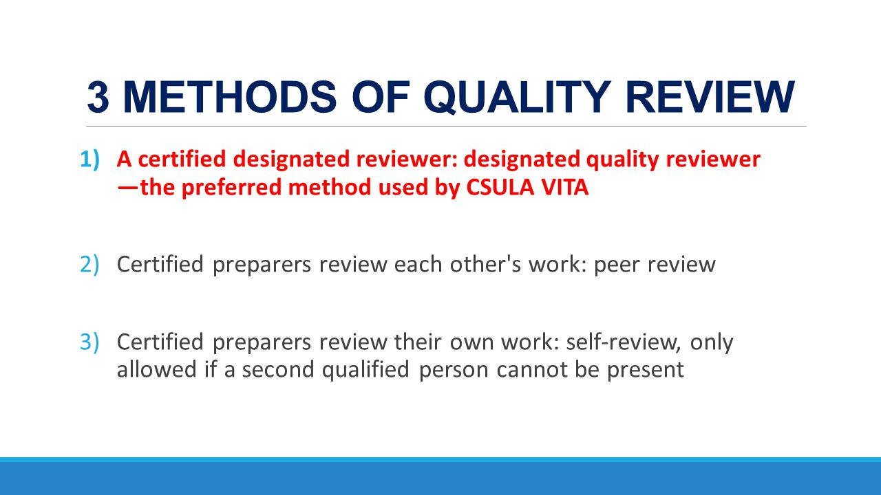 3 METHODS OF QUALITY REVIEW