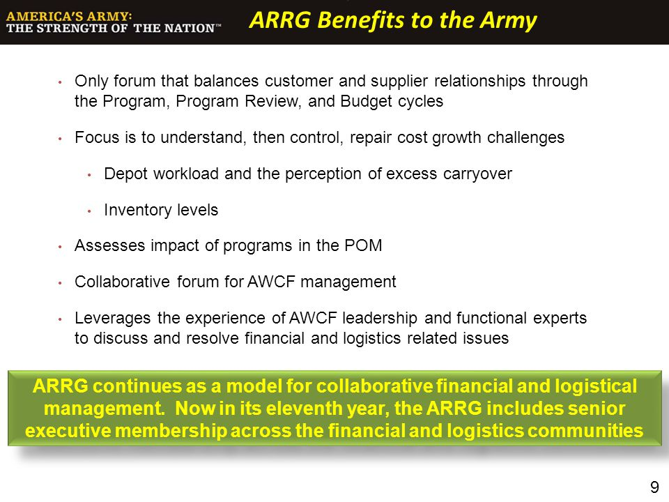ARRG Benefits to the Army