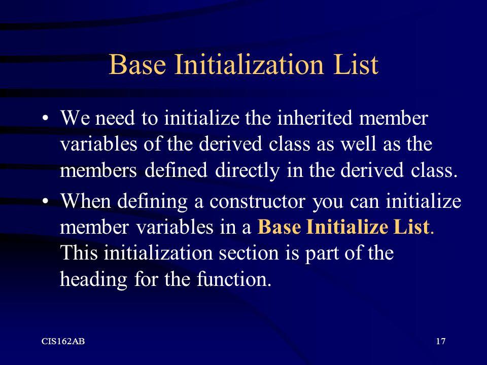 Base Initialization List
