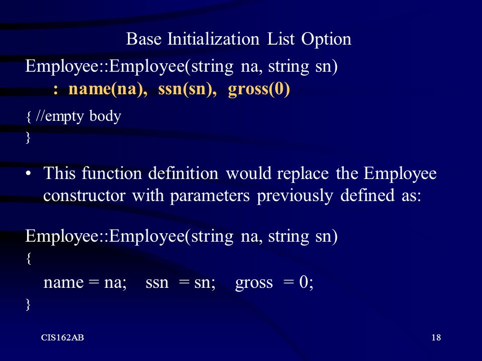 Base Initialization List Option