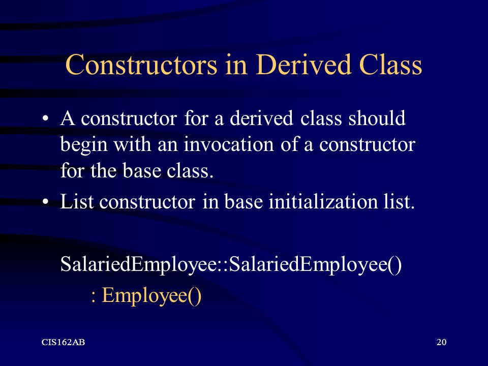Constructors in Derived Class