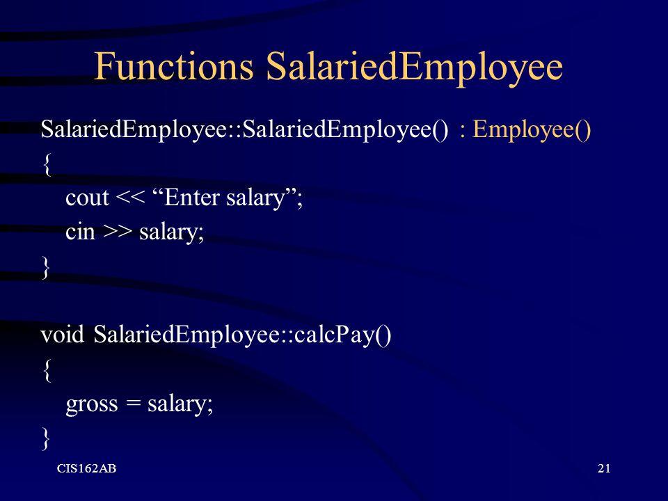 Functions SalariedEmployee