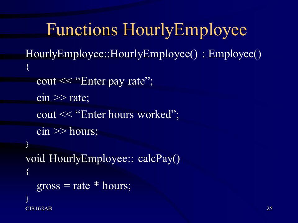 Functions HourlyEmployee