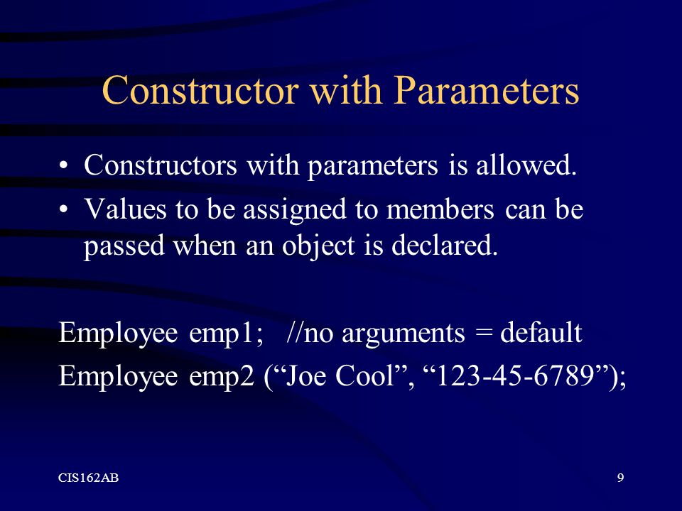 Constructor with Parameters