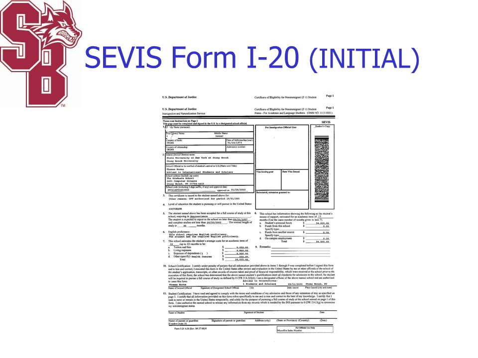 SEVIS Form I-20 (INITIAL)