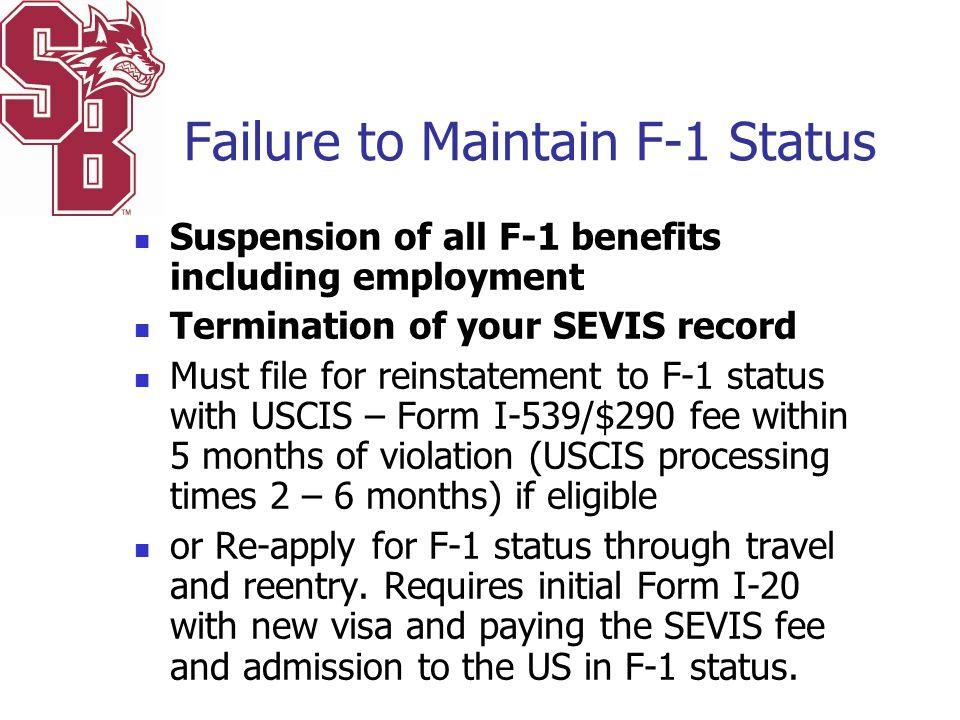 Failure to Maintain F-1 Status