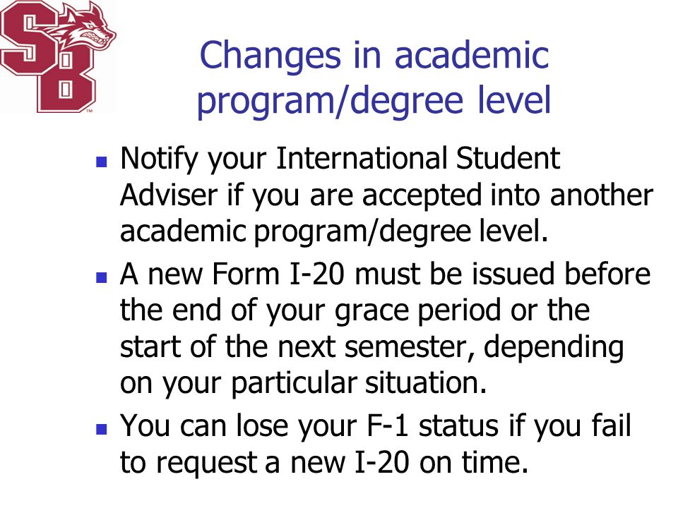 Changes in academic program/degree level