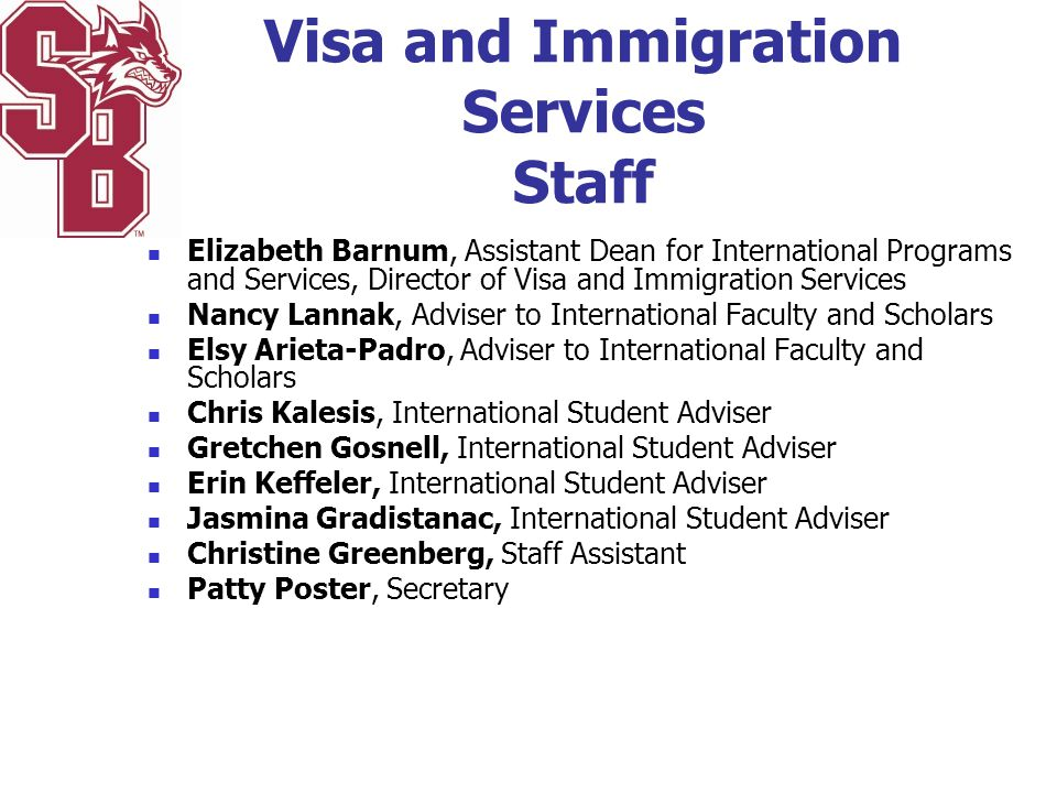 Visa and Immigration Services Staff