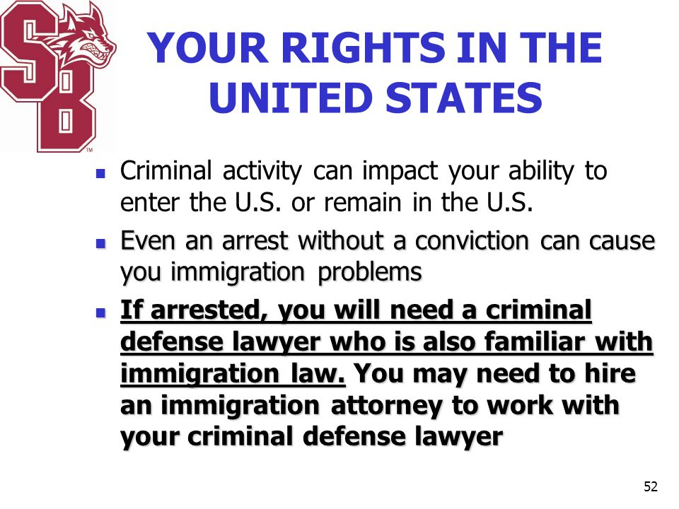 YOUR RIGHTS IN THE UNITED STATES