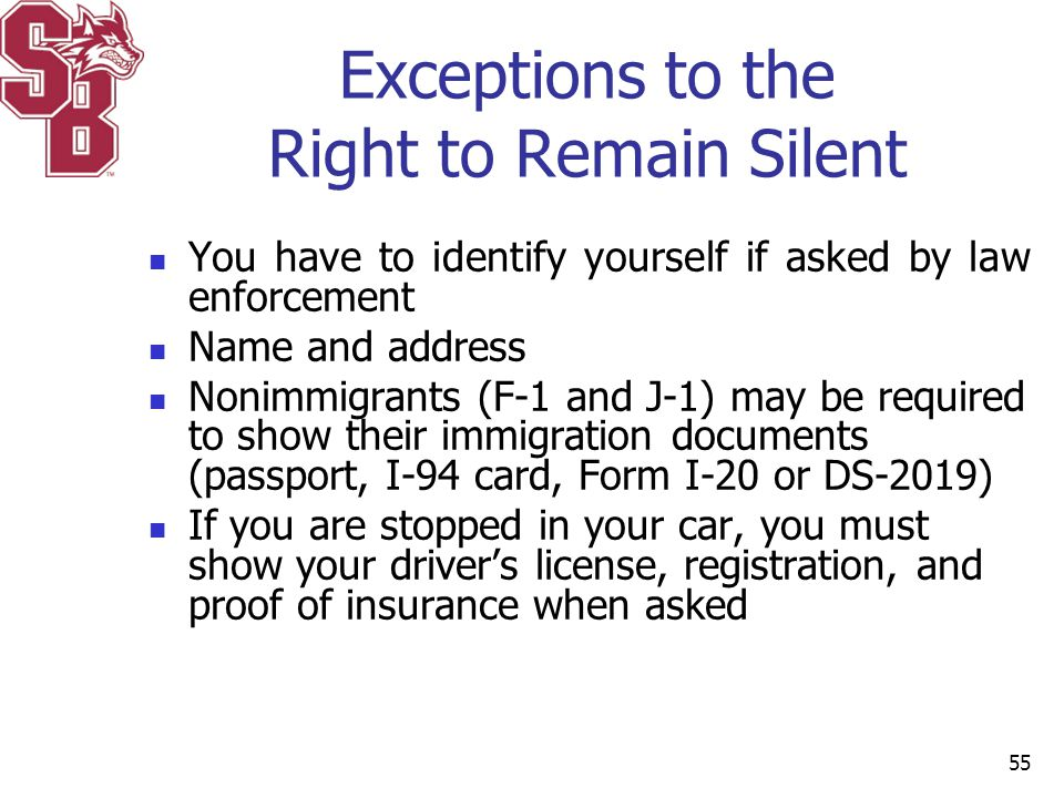 Exceptions to the Right to Remain Silent