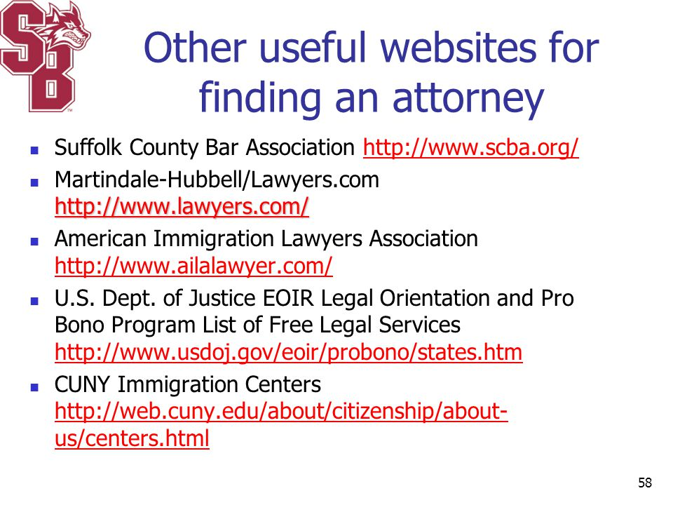 Other useful websites for finding an attorney