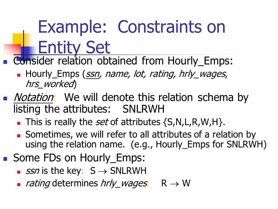 Example: Constraints on Entity Set