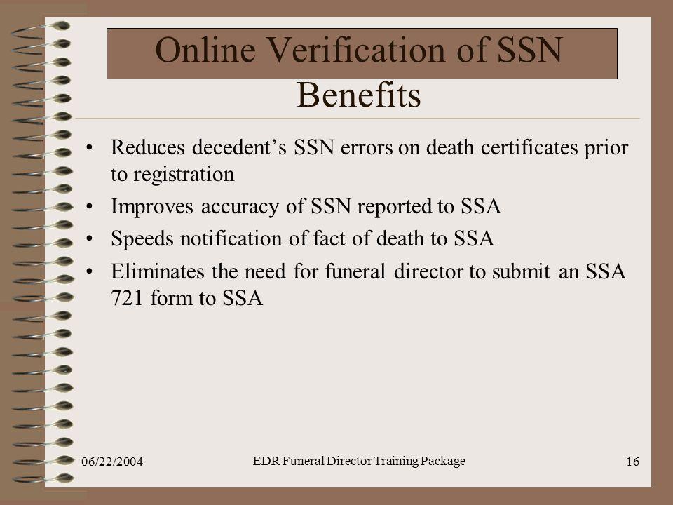 Online Verification of SSN Benefits