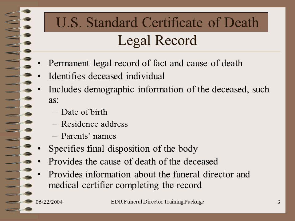 U.S. Standard Certificate of Death Legal Record