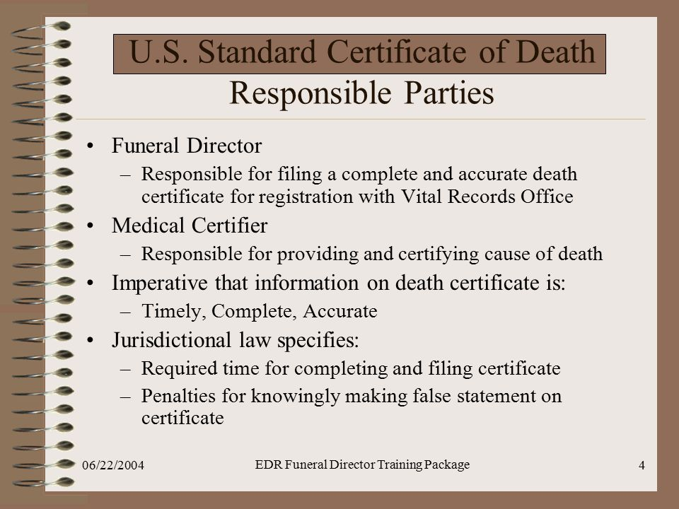U.S. Standard Certificate of Death Responsible Parties