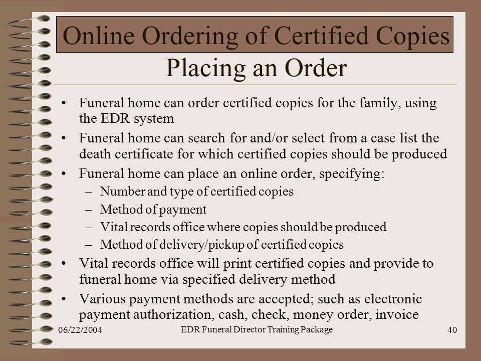 Online Ordering of Certified Copies Placing an Order