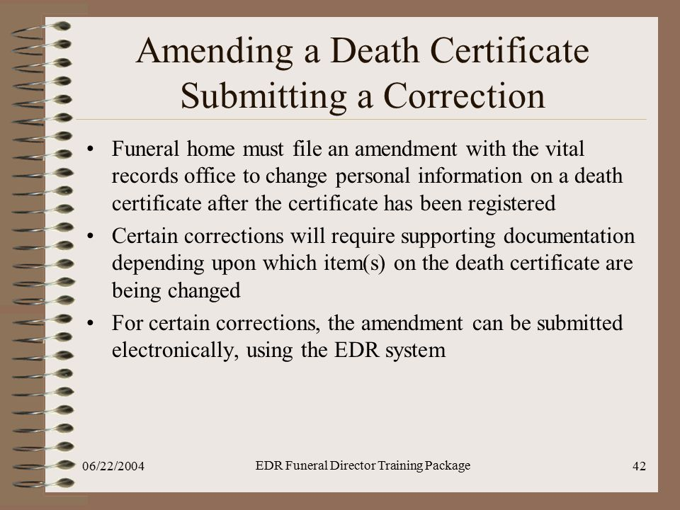 Amending a Death Certificate Submitting a Correction