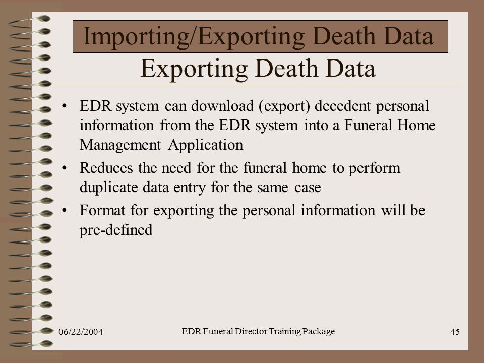 Importing/Exporting Death Data Exporting Death Data