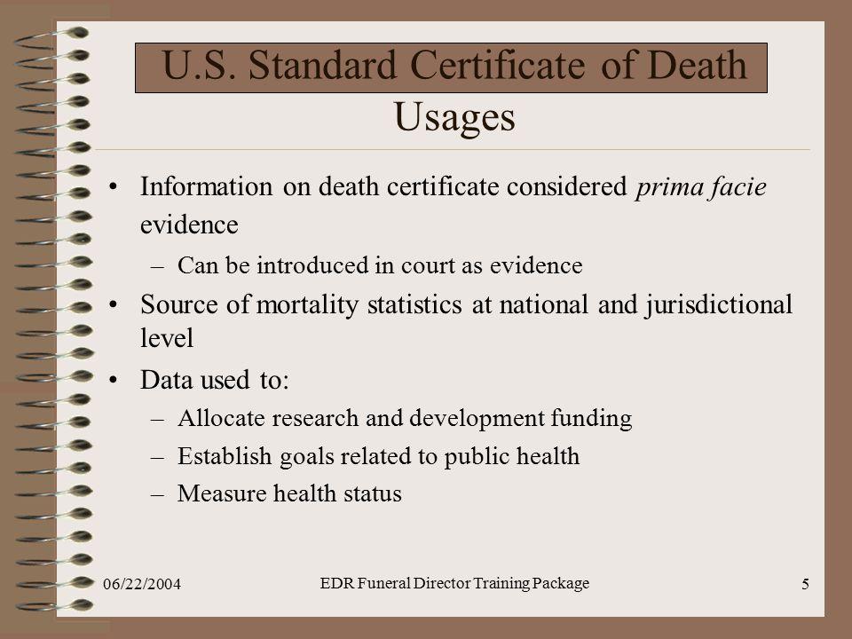 U.S. Standard Certificate of Death Usages