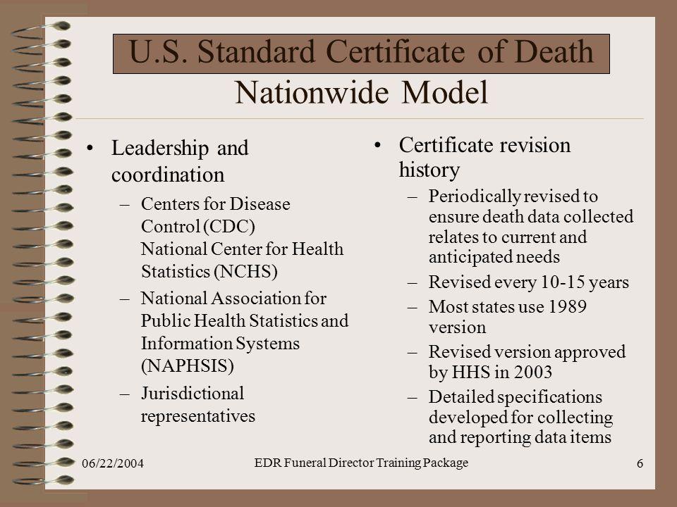 U.S. Standard Certificate of Death Nationwide Model