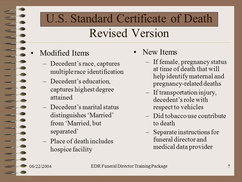 U.S. Standard Certificate of Death Revised Version