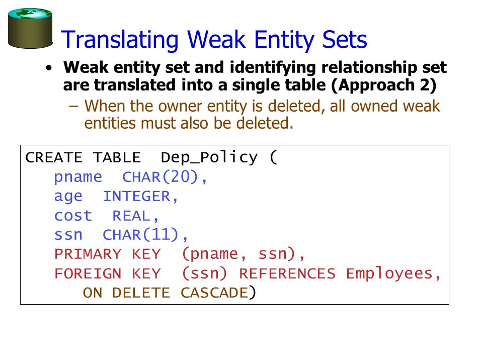 Translating Weak Entity Sets