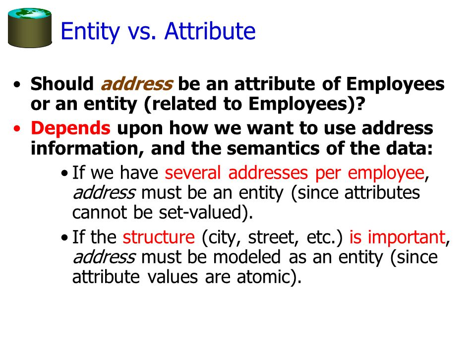 Entity vs. Attribute Should address be an attribute of Employees or an entity (related to Employees)