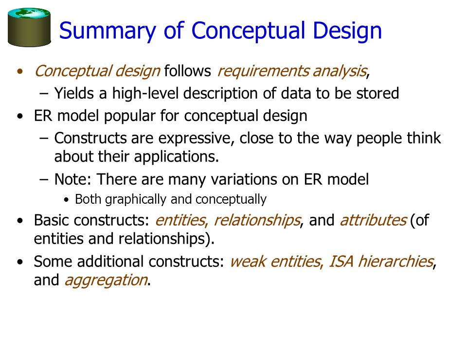 Summary of Conceptual Design