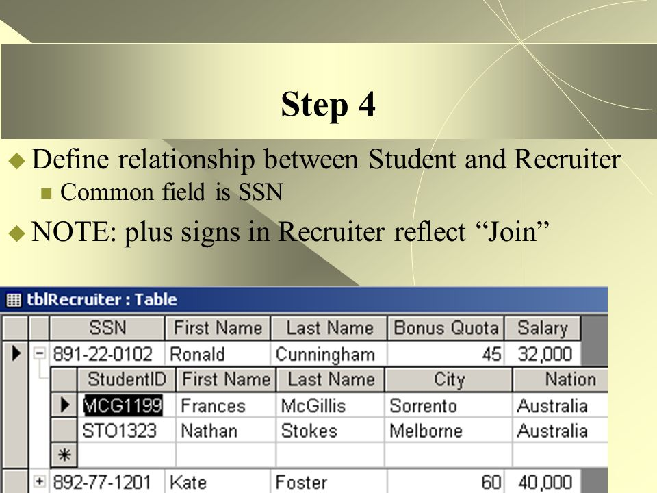 Step 4 Define relationship between Student and Recruiter