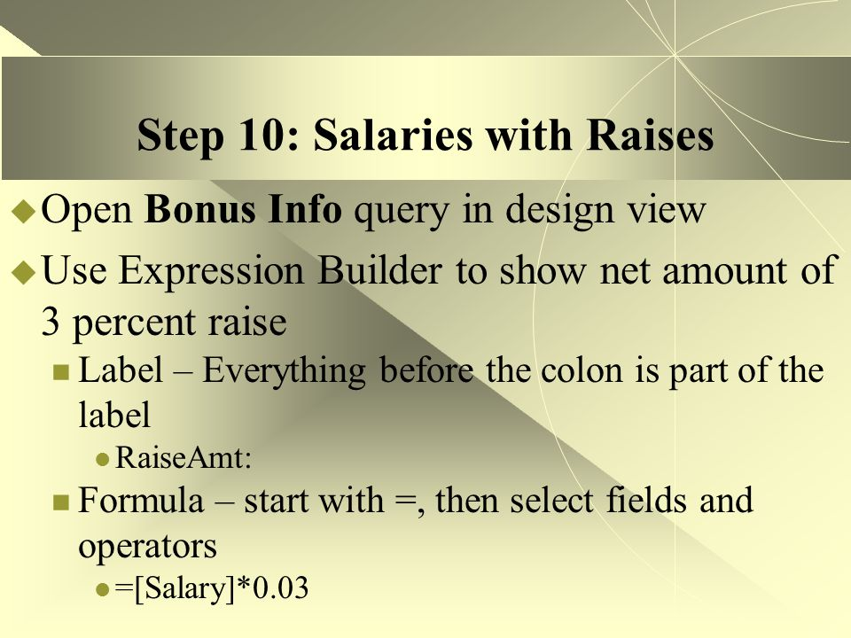 Step 10: Salaries with Raises